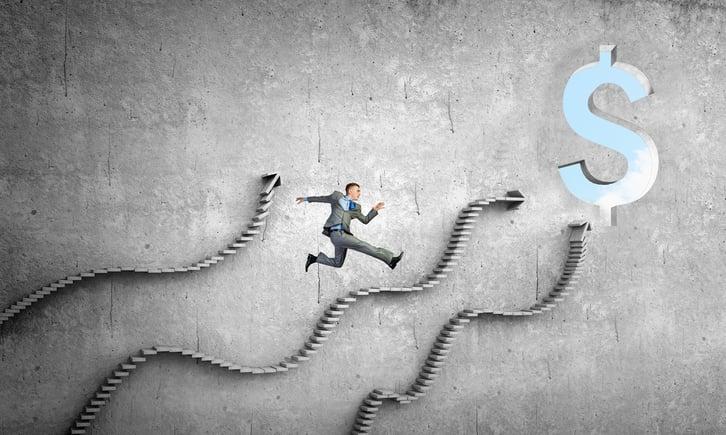 Businessman running on ladder leading to financial success.jpeg